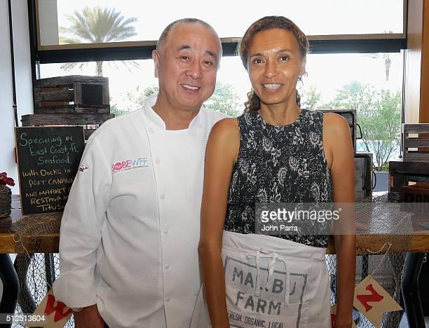 Chefs Nobu Matsuhisa and Helene Henderson attends Nobu Miami Malibu Farm Celebrate SOBEWFF At The Eden Roc Hotel at Nobu Miami Beach on February 26...