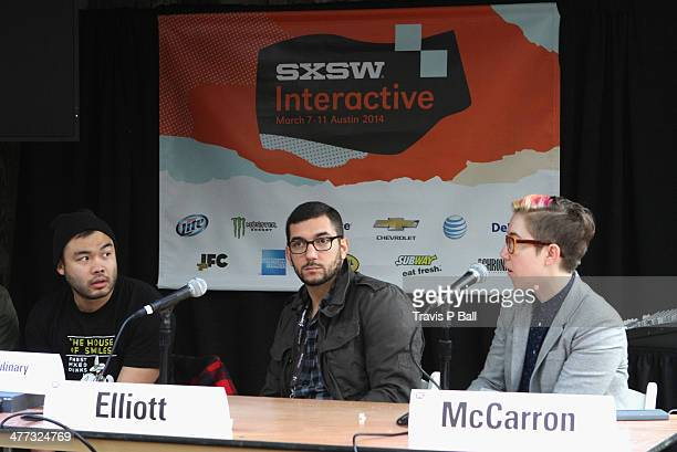 Chefs Paul Qui Ned Elliott and Meghan McCarron speak onstage at 'Black Heart Food Track' during the 2014 SXSW Music Film Interactive Festival at...
