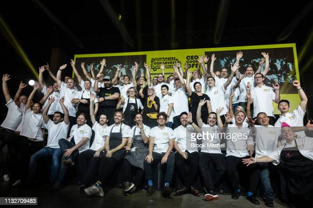 Chefs pose for a photo during the OzHarvest CEO Cookoff on March 25 2019 in Sydney Australia
