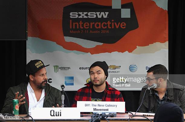 Chefs Rene Ortiz Paul Qui and Ned Elliott speak onstage at 'Black Heart Food Track' during the 2014 SXSW Music Film Interactive Festival at Austin...