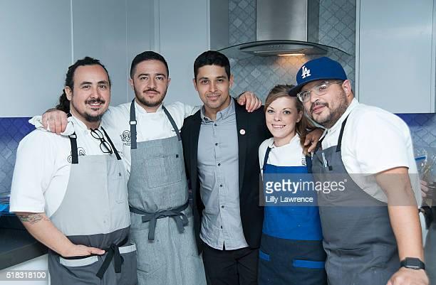 Chefs Rico Torres Diego Galicia actor Wilmer Valderrama Cassie Ramsey and Luis Colon attend Voto Latino presents an Intimate Conversation with Wilmer...