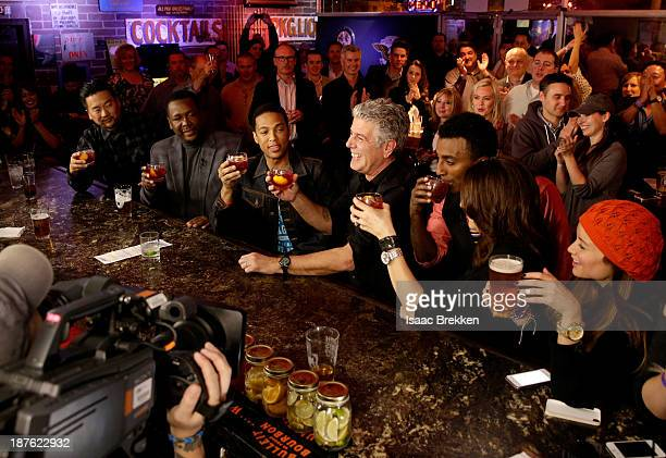 Chefs Roy Choi Wendell Pierce CNN anchor Don Lemon TV personality Anthony Bourdain and chef Marcus Samuelsson attend 'Parts Unknown Last Bite' Live...