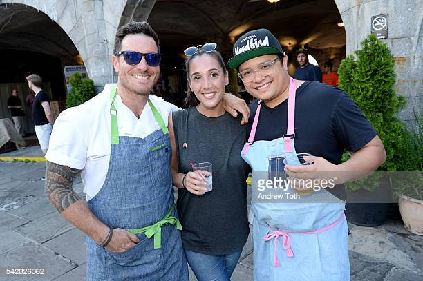 Chefs Seamus Mullen Leah Cohen and Dale Talde attend The 7th Annual Saveur Summer Cookout at Boat Basin Cafe on June 21 2016 in New York City