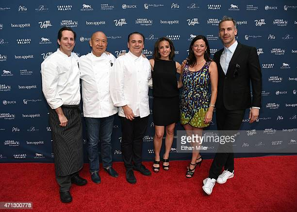 Chefs Sean Griffin Masayoshi Takayama and JeanGeorges Vongerichten and Vice President and Publisher of Bon Appetit magazine Pamela Drucker Mann Las...