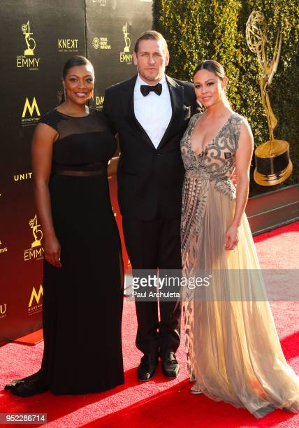 Chefs Tiffany Derry and Curtis Stone and Actress Vanessa Lachey attend the 45th Annual Daytime Creative Arts Emmy Awards at the Pasadena Civic...