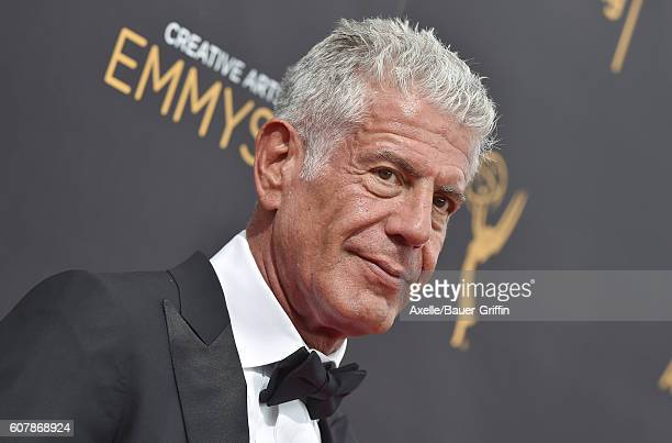 Chef/TV personality Anthony Bourdain arrives at the 2016 Creative Arts Emmy Awards at Microsoft Theater on September 11 2016 in Los Angeles California
