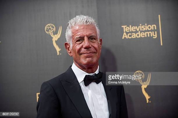 Chef/TV personality Anthony Bourdain attends the Creative Arts Emmy Awards at Microsoft Theater on September 10 2016 in Los Angeles California