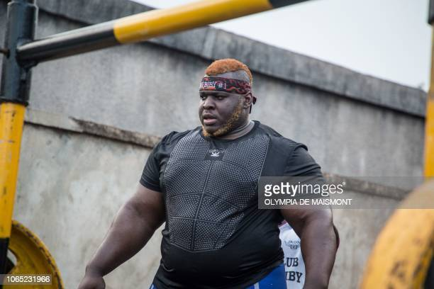 Cheick Ahmed AlHassan Sanou aka Iron Biby pepares to lift 505kg at his home of BoboDioulasso second biggest city of Burkina Faso on September 23 2018...