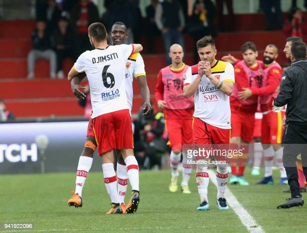 Cheick Diabate of Benevento celebrates after scoring his team's third goal during the serie A match between Benevento Calcio and Hellas Verona FC at...