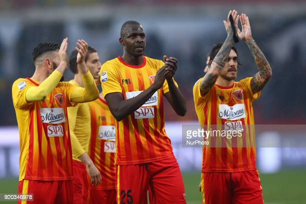 Cheick Diabate of Benevento with the teammates greeting the supporters during the serie A match between Benevento Calcio and FC Crotone at Stadio...