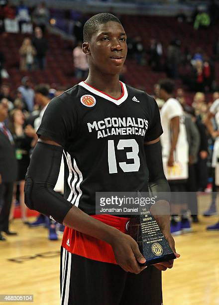 Cheick Diallo of the East team hold the VP trophy after the 2015 McDonalds's All American Game at the United Center on April 1 2015 in Chicago...