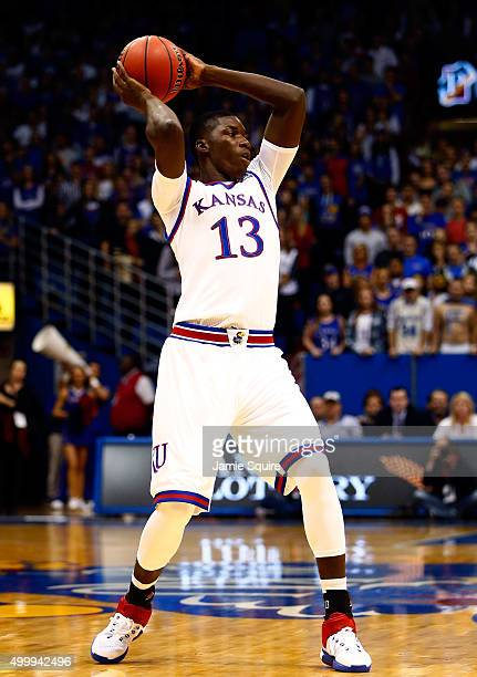 Cheick Diallo of the Kansas Jayhawks controls the ball during the game against the Loyola Greyhounds at Allen Fieldhouse on December 1 2015 in...