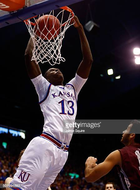 Cheick Diallo of the Kansas Jayhawks dunks during the game against the Montana Grizzlies at Allen Fieldhouse on December 19 2015 in Lawrence Kansas