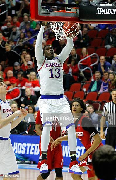 Cheick Diallo of the Kansas Jayhawks dunks in the second half against the Austin Peay Governors during the first round of the 2016 NCAA Men's...