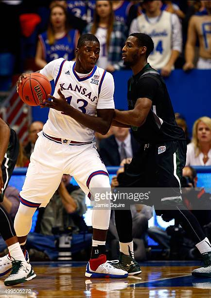 Cheick Diallo of the Kansas Jayhawks in action during the game at Allen Fieldhouse on December 1 2015 in Lawrence Kansas