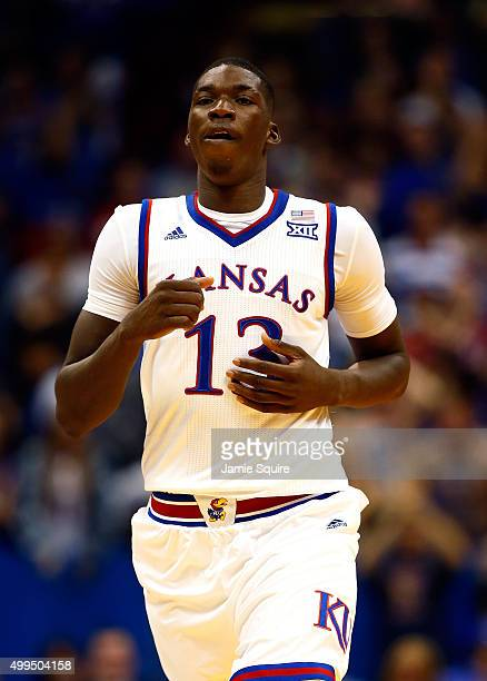 Cheick Diallo of the Kansas Jayhawks jogs back up the court after scoring during the 2nd half of the game against the Loyola Greyhounds at Allen...
