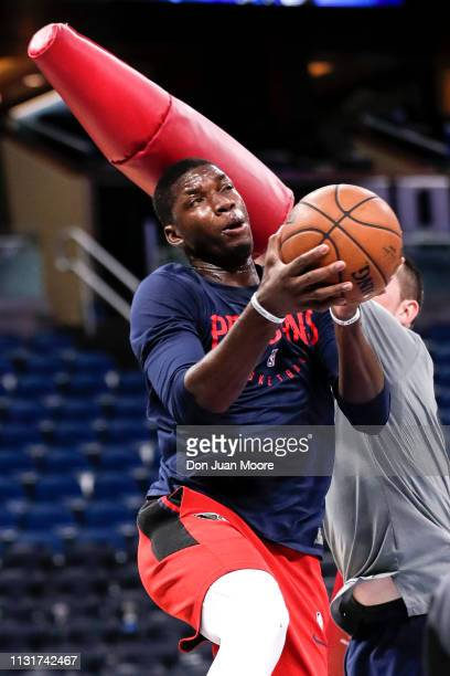 Cheick Diallo of the New Orlean Pelicans warms up before the game against the Orlando Magic at the Amway Center on March 20 2019 in Orlando Florida...
