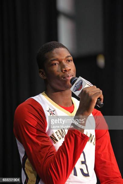 Cheick Diallo of the New Orleans Pelicans answers questions from fans as the Pelicans hold their annual season tickets sales event on January 28 2017...