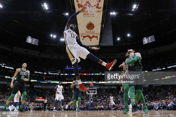 Cheick Diallo of the New Orleans Pelicans dunks the ball during the second half against the Boston Celtics at the Smoothie King Center on March 18...