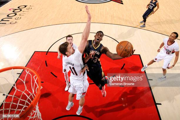 Cheick Diallo of the New Orleans Pelicans goes for a lay up during the game against the Portland Trail Blazers on April 12 2017 at the Moda Center in...