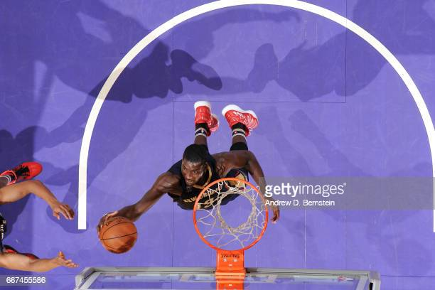 Cheick Diallo of the New Orleans Pelicans goes the rebound during the game against the Los Angeles Lakers on April 11 2017 at STAPLES Center in Los...