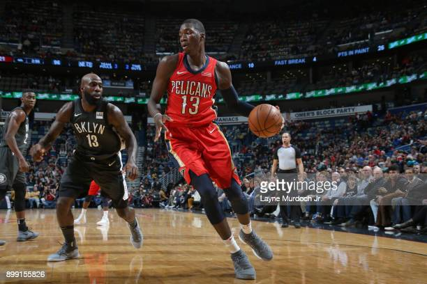Cheick Diallo of the New Orleans Pelicans handles the ball against the Brooklyn Nets on December 27 2017 at Smoothie King Center in New Orleans...