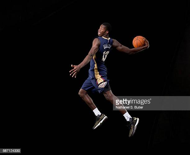 Cheick Diallo of the New Orleans Pelicans poses for a portrait during the 2016 NBA rookie photo shoot on August 7 2016 at the Madison Square Garden...