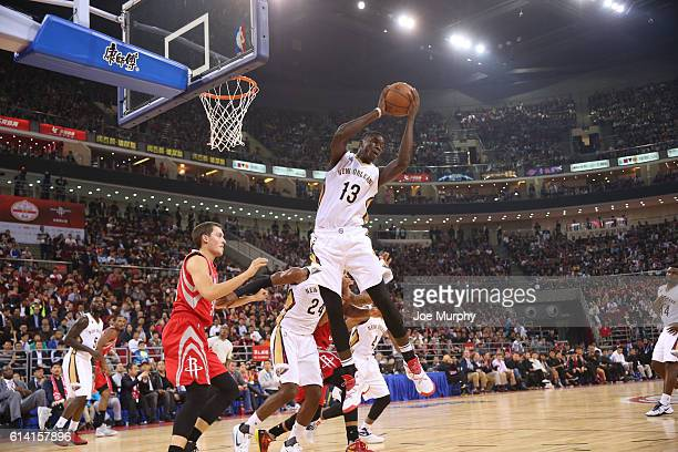 Cheick Diallo of the New Orleans Pelicans rebounds against the Houston Rockets as part of the 2016 Global Games China at LeSports Center on October...