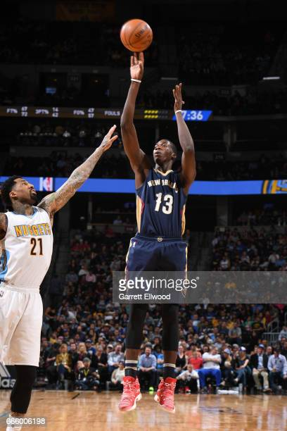 Cheick Diallo of the New Orleans Pelicans shoots the ball against the Denver Nuggets on April 7 2017 at the Pepsi Center in Denver Colorado NOTE TO...