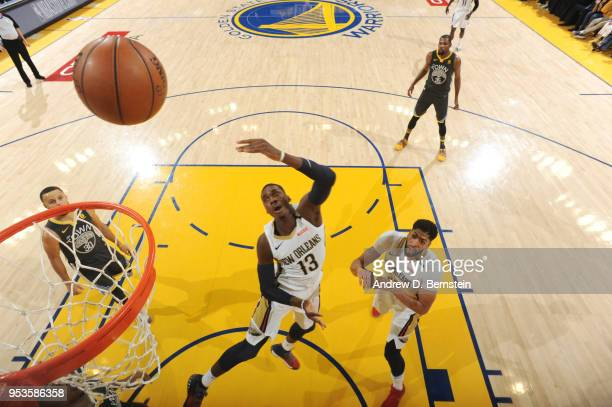 Cheick Diallo of the New Orleans Pelicans shoots the ball against the Golden State Warriors in Game Two of Round Two of the 2018 NBA Playoffs on May...