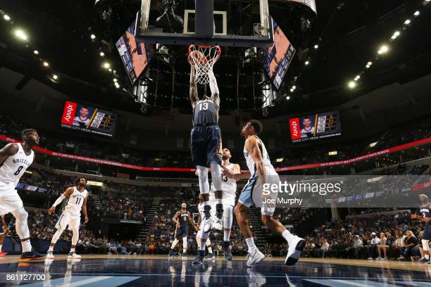 Cheick Diallo of the New Orleans Pelicans shoots the ball during a preseason game against the Memphis Grizzlies on October 13 2017 at FedExForum in...