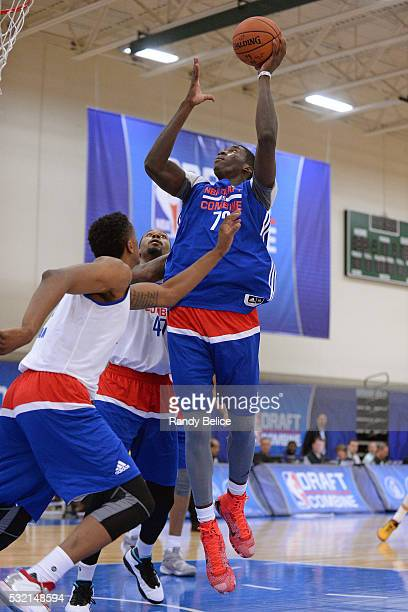 Cheick Diallo puts up a shot during the 2016 NBA Draft Combine on May 13 2016 at the Quest Multisport in Chicago Illinois NOTE TO USER User expressly...