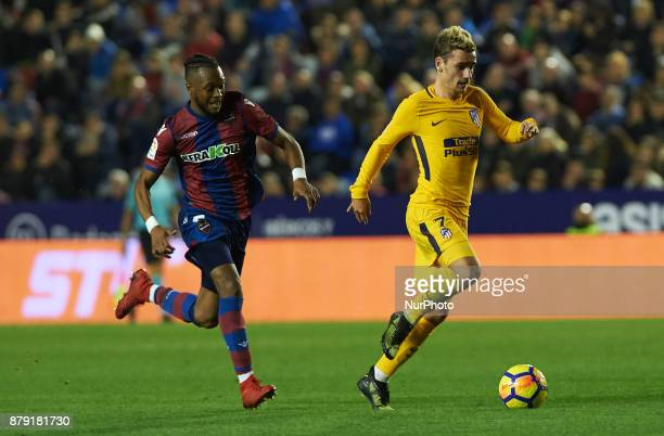 Cheick Doukoure of Levante UD and Antoinne Griezmann of Club Atletico de Madrid in action during the La Liga match between Levante UD and Club...
