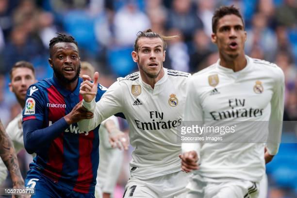 Cheick Doukoure of Levante UD Gareth Bale of Real Madrid Raphael Varane of Real Madrid during the La Liga Santander match between Real Madrid v...