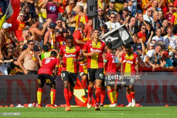 Cheick Oumar Doucoure and Mehdi Jean Tahrat of Lens during the Ligue 2 match between Lens and Red Star at Stade BollaertDelelis on August 4 2018 in...