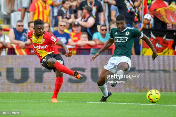Cheick Oumar Doucoure of Lens and Formose Mendy of Red Star during the Ligue 2 match between Lens and Red Star at Stade BollaertDelelis on August 4...