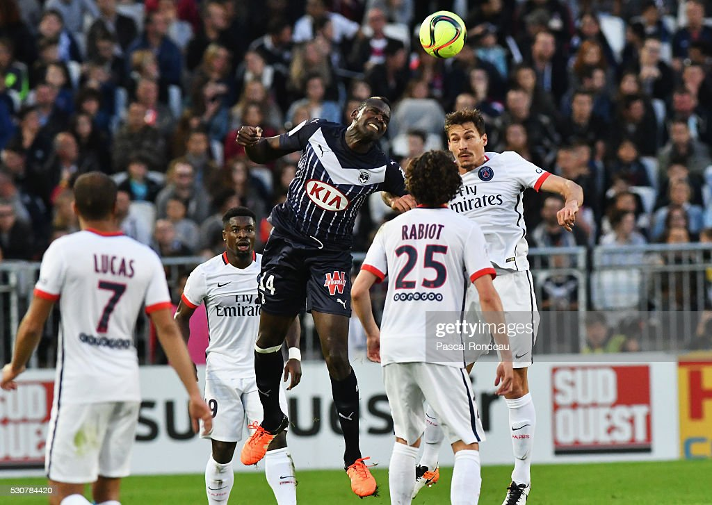 Cheick Tidiane Diabate from Bordeaux in action during the French League 1 match between FC Girondins de Bordeaux and Paris Saint-Germain at Stade Chaban Delmas on May 11, 2016 in Bordeaux, France.