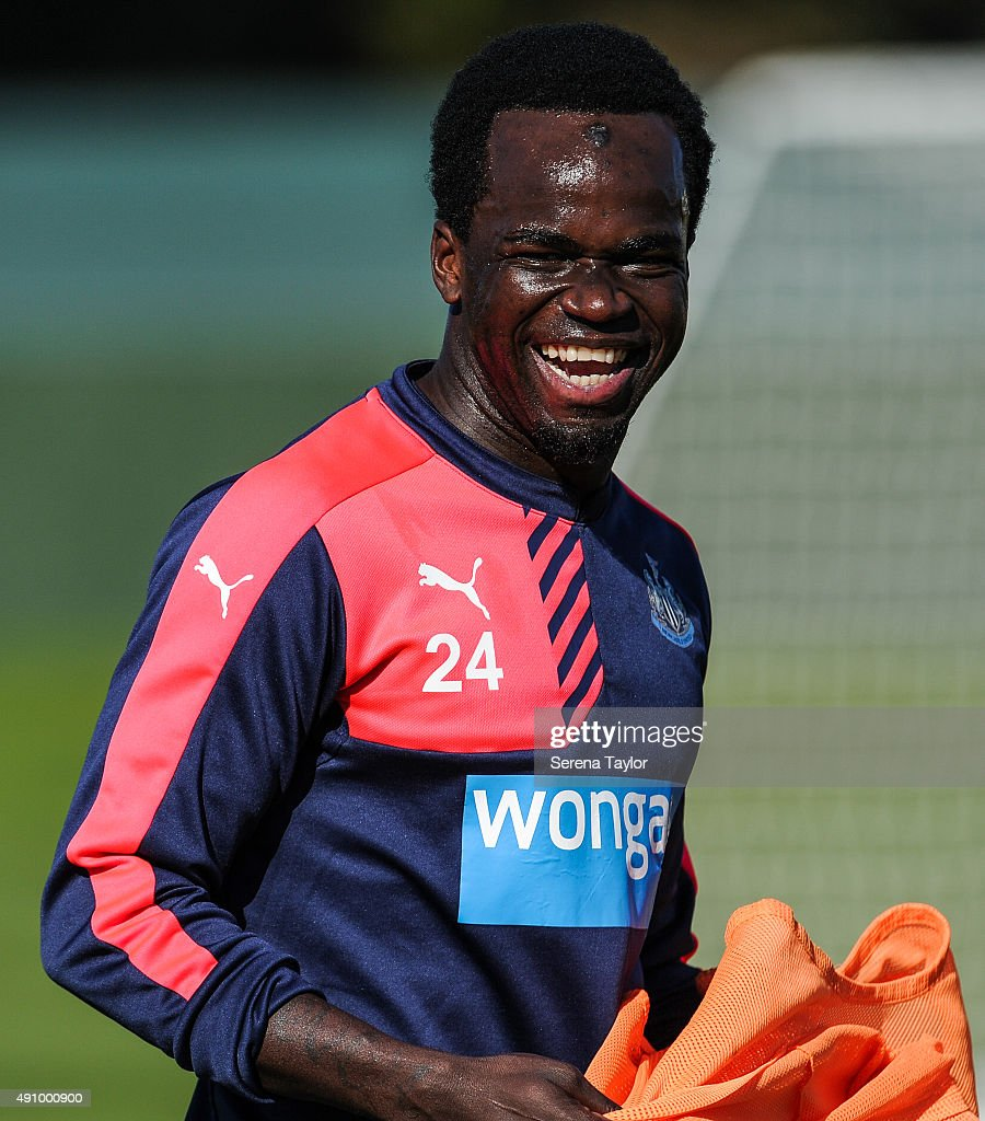 Cheick Tiote laughs during the Newcastle United Training session at The Newcastle United Training Centre on October 2, 2015, in Newcastle upon Tyne, England.