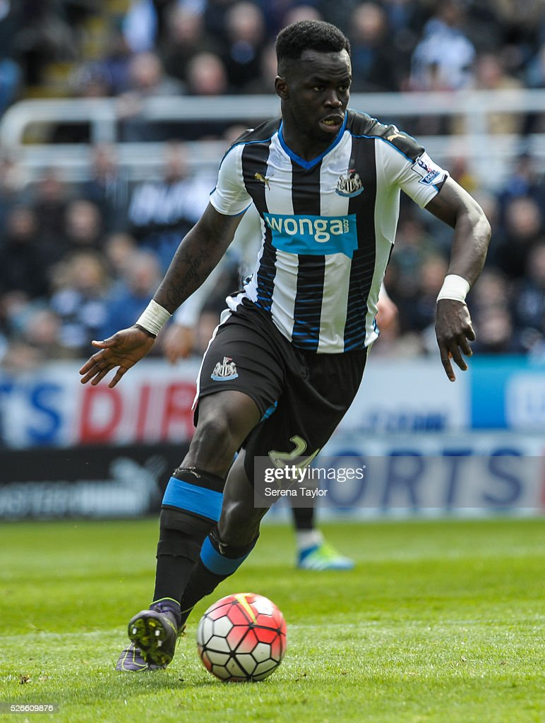 Cheick Tiote of Newcastle controls the ball during the Barclays Premier League match between Newcastle United and Crystal Palace at St.James' Park on April 30, 2016, in Newcastle upon Tyne, England.