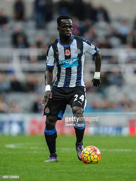 Cheick Tiote of Newcastle runs with the ball during the Barclays Premier League match between Newcastle United and Stoke City at StJames' Park on...