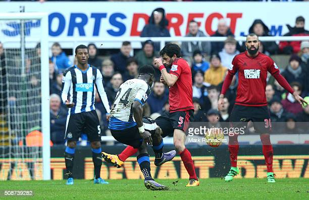 Cheick Tiote of Newcastle United scores a long range shot in the first half only to have his goal ruled out by referee Lee Mason during the Barclays...