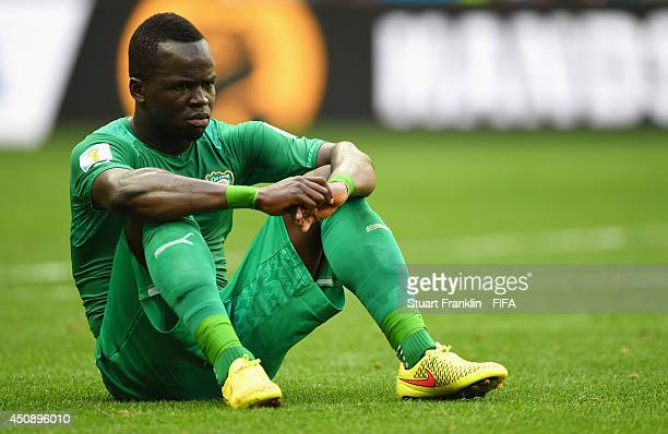 Cheick Tiote of the Ivory Coast reacts after the 2014 FIFA World Cup Brazil Group C match between Colombia and Cote D'Ivoire at Estadio Nacional on...