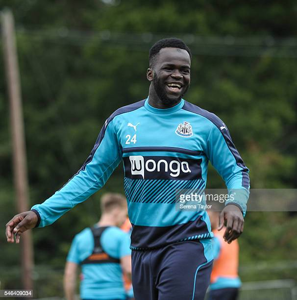 Cheick Tiote smiles during the Newcastle United Training Camp at Carton House on July 12 in Kildare Ireland