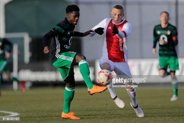 Cheick Tourev of Feyenoord U19 Noa Lang of Ajax U19 during the match between Ajax U19 v Feyenoord U19 at the De Toekomst on February 16 2018 in...