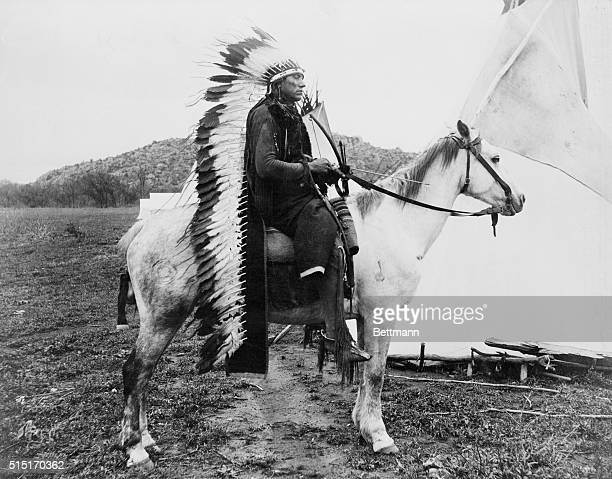 Cheif Quanah Parker in Comanche war costume on horse Undated photo