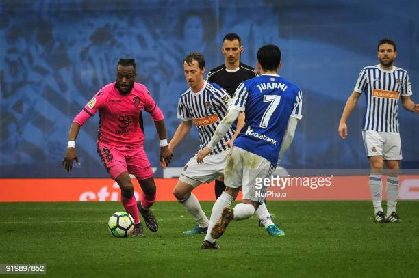 Cheik Doukoure of Levante duels for the ball with Zurutuza of Real Sociedad during the Spanish league football match between Real Sociedad and...