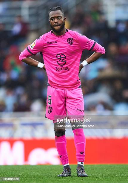 Cheik Doukoure of Levante UD looks on during the La Liga match between Real Sociedad and Levante at Estadio de Anoeta on February 18 2018 in San...