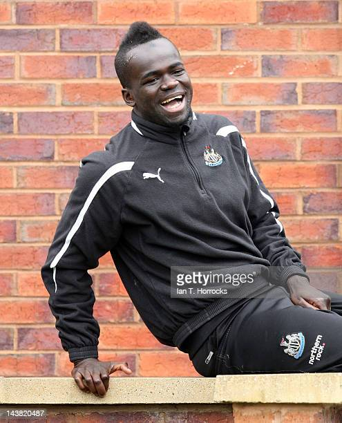 Cheik Tiote during a Newcastle United training session at the Little Benton Training Ground on May 04 in Newcastle upon Tyne United Kingdom