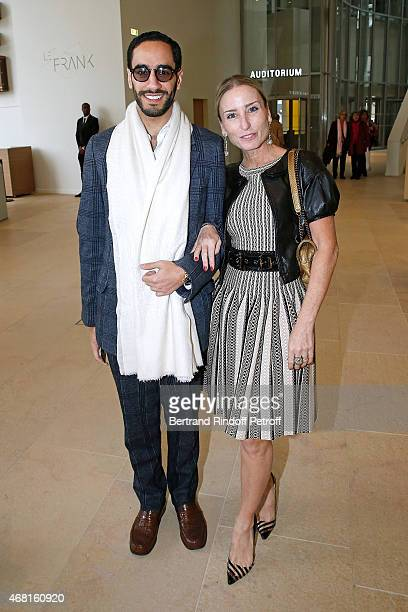 Cheikh Abdullah Al Khalifa and Pamela d'Asch attend the 'Les Clefs d'une Passion' Exhibition Preview Held at Fondation Louis Vuitton on March 30 2015...