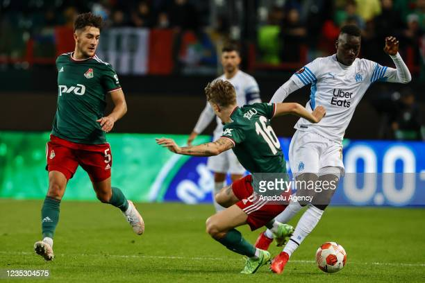 Cheikh Ahmadou Bamba Mbacke Dieng of FC Olympique de Marseille in action against Tin Jedvaj of FC Lokomotiv during the UEFA Europa League match...
